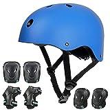 arteesol Skaterhelm Skateboard Helm Kinder Fahrradhelm CE-Zertifizierung Herren Damen Jungs & Kinderhelm (Blue Set)