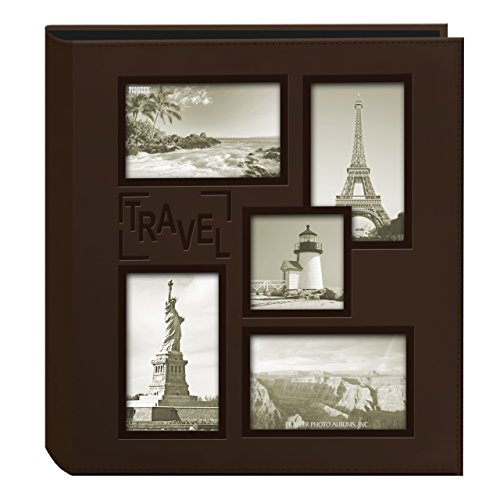 Pioneer Photo Albums Collage Frame Embossed Travel Photo Album, Brown