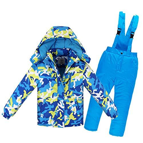 LSERVER Jungen und Mädchen Winddicht wasserdicht warm gepolsterte Skianzug Set, Blaue und gelbe Tarnung, 134/140(Fabrikgröße: 140 cm)