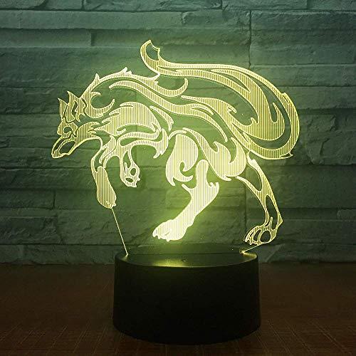 Wolf Lámpara de ilusión 3D Luz de noche 3D para niños niñas Lámpara de escritorio de mesa 16 Lámpara de decoración que cambia de color Regalos Festival de cumpleaños Navidad para adolescentes Ami