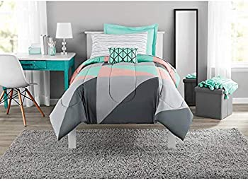 Mainstays Grey & Teal 6 pc Bed in a Bag Bedding Twin/Twin XL Size Set