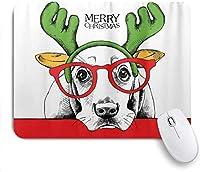 マウスパッド 個性的 おしゃれ 柔軟 かわいい ゴム製裏面 ゲーミングマウスパッド PC ノートパソコン オフィス用 デスクマット 滑り止め 耐久性が良い おもしろいパターン (クリスマス犬バセットの肖像画)