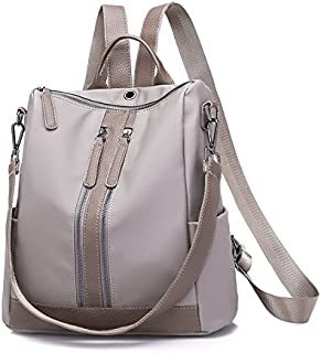 ZGQA Women's Oxford Cloth Backpack Simple Casual Multi-Function Backpack (Color : Gray, Size : M)