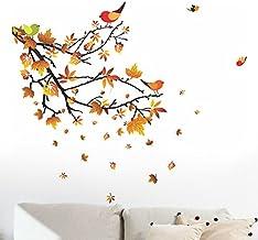Decals Design 'Autumn Leaves and Birds' Wall Sticker (PVC Vinyl, 50 cm x 70 cm, Multicolour)