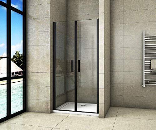 Aica Sanitär 100x200cm Duschtür Nischentür Duschabtrennung Doppeltür aus 8mm Sicherheitsglas mit Nanobeschichtung Schwarz