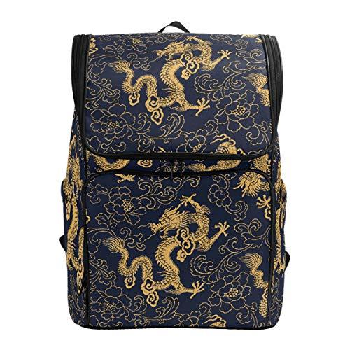 Dallonan Outdoor Daypack Chinesischer Traditioneller Goldener Drache Klassischer Casual Reise Laptop Computer Rucksäcke für Herren Damen Wasserdicht Große Kapazität Sporttasche für Erwachsene