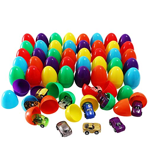 48 Packs Easter Eggs Filled with 48 Assorted Pull Back Race Cars for Kids Easter Egg Hunt Games, Cute Pull Back Vehicle Toys For Easter Basket Stuffers, Carnivals School Supplies and Gift Exchange