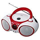 Jensen CD Boombox CD-490 White/Red Portable Stereo Boombox + CD-R/RW Player with AM/FM