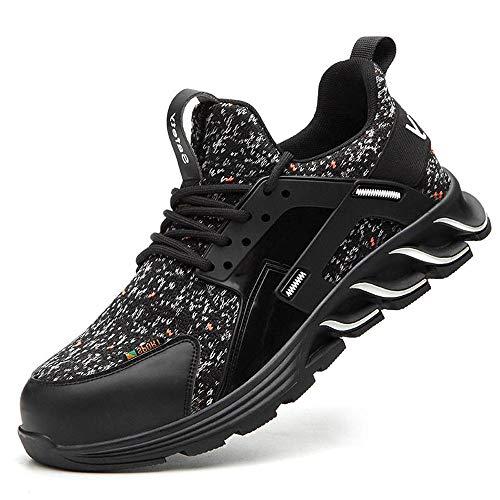 Zapatos trabajo protectores con punta acero transpirable al aire libre para hombre,botas seguridad a prueba pinchazos,zapatillas caminar,zapatillas para hombre y mujer,zapatos-8118 blanco y negro_38