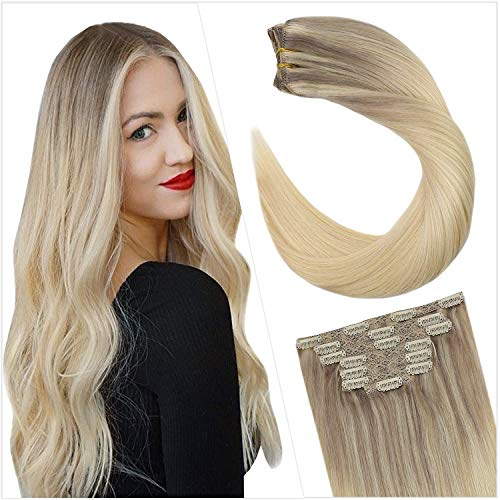 Ugeat 20 Pulgadas Clip in Extensiones Remy Natural #18/22/60 Blonde Balayage Ombre Nordic Natural Cabello Humano Soprano Clip in Extensiones Brasileno Cabello Humano Remy