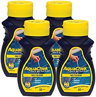 AquaChek Yellow Water Testing Strips - (50) for Free Chlorine, Total Alkalinity, Cyanuric Acid (Stabilizer) & pH - (4) Pack
