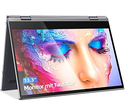 Touchscreen Monitor Tragbarer Monitor 13.3 Zoll Portable Monitor IPS Bildschirm Doppellautsprecher Computer Display USB C Gaming Monitor 360° kostenloser Flip10000Ahm Batterie Tastatur