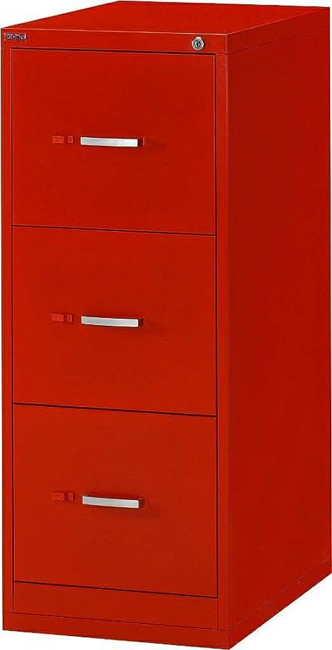 タービンシソーラス非公式キャビネット 3段 ファイリングキャビネット (レッド 赤) カギ付き引出し 書庫 [オフィス/会社/学校/事務所] 幅400×奥行き620×高さ1015mm