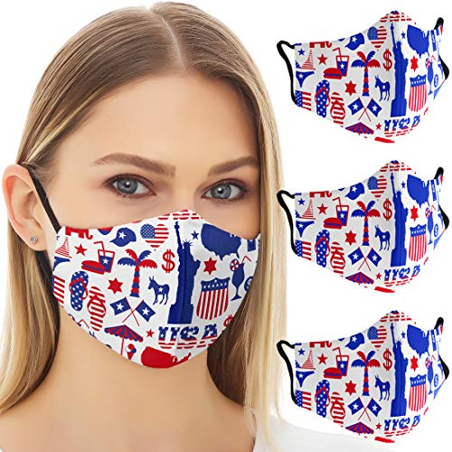 OJOS American Flag Mask Reusable - Patriotic Designer US Flag Face Masks, Breathable and Washable with 3 Filter Layers, US Flag Cover for Men and Women (3 Pack) - The Statue of Liberty