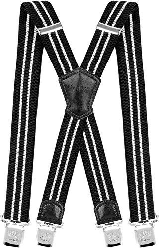 Decalen Hosenträger für Herren Breit 4 cm mit sehr Starken 4 Metall Clip Lang Einheitsgröße für Männer und Damen Einstellbar und Elastisch X Style (Schwarz Weiss)