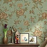 Papel pintado para pared, diseño de flores, 3D, estilo rústico, retro, para salón, dormitorio y telón de fondo (verde claro)