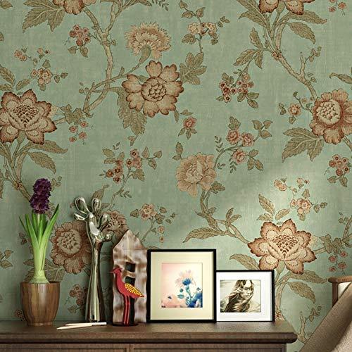 Papel pintado para pared, diseño de flores, 3D, estilo rústico, retro, para salón, dormitorio y fondo de TV (verde claro)