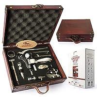 yobansa antica scatola di legno accessori per il vino set regalo,set per l'apertura del vino,cavatappi per vino,tappo del vino,versatore di vino (style 0a)