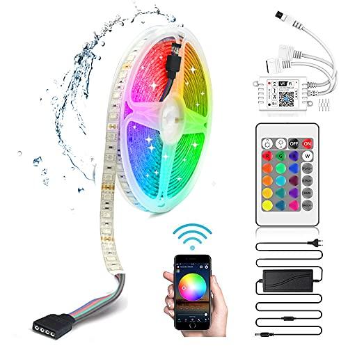 Arotelicht Striscia LED 5M WIFI Striscia LED RGB 12V catena luminosa dimmerabile SMD5050 300LEDs autoadesivo IP65 impermeabile cambio colore con telecomando e alimentatore per casa, stanza, festa