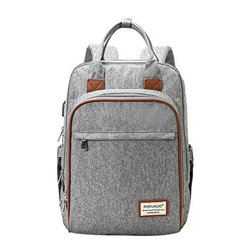 Mochila para pañales de bebé, bolsa de pañales de viaje impermeable de gran capacidad, bolsa de pañales con bolsa de agua térmica, correa para cochecito y puerto de carga USB (gris)