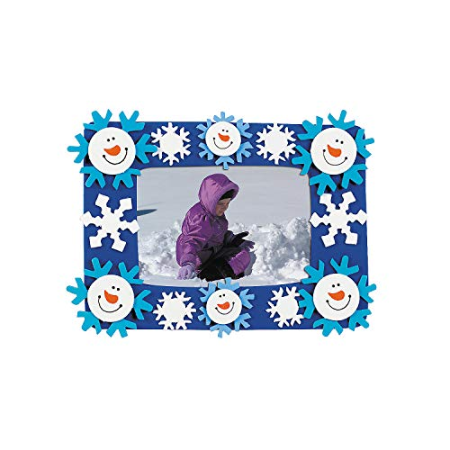 Smile Face Snowman Picture Frame Magnet - Makes 12 - Crafts for Kids and Fun Home Activities