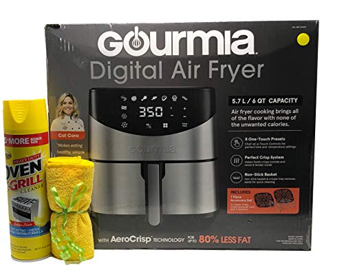 Gourmia Digital Stainless Steel 6 Qt/5.7L Digital Air Fryer With AeroCrispTM Technology for up to...