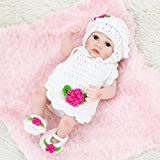 Anself Reborn Baby Doll Girl Baby Bath Toy Full Silicone Body Eye Open