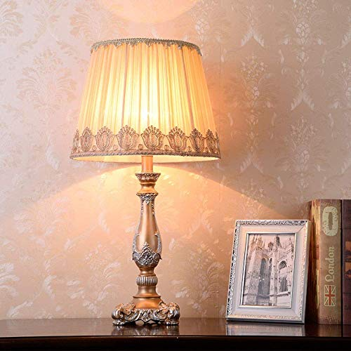 IREANJ White Lace Fabric Lamp Shade Resin Light Brown Body Bedside Table Lamps Lamp Lighting Lamps High Taste