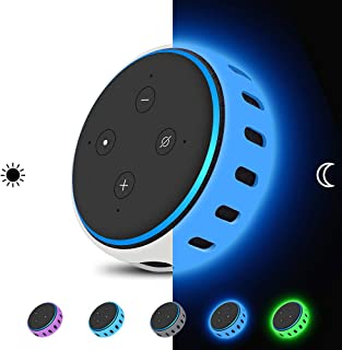 Echo Dot 3rd Generation Case Cover [Glow in The Dark],Silicone Protective Case Holder [Lightweight ] Anti-Slip Shockproof Skin Stand (Glow Blue)
