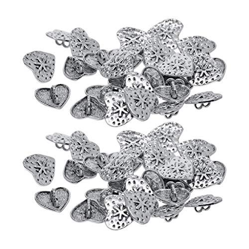 Hellery 60er-Pack Herz Knöpfe Metallknöpfe Knopf Metallknopf Trachtenknopf Ösenknöpfe flaches antikes Silber 18mm