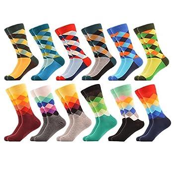 WeciBor Men s Dress Colorful Argyle Funny Novelty Combed Cotton Crew Socks 12 Packs