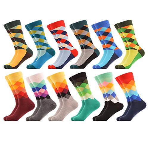 WeciBor Men's Dress Colorful Argyle Funny Novelty Combed Cotton Crew Socks 12 Packs