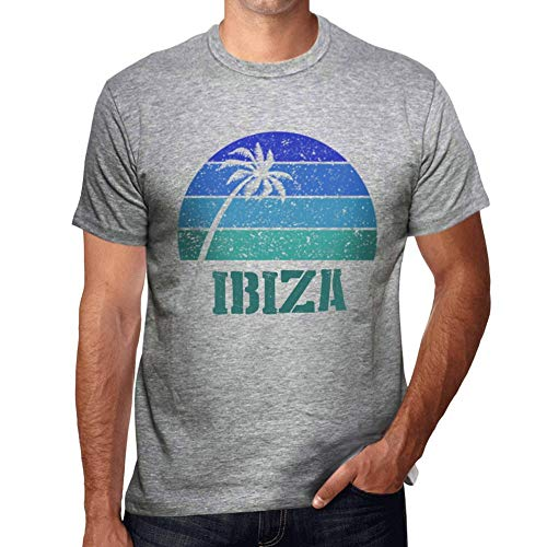 One in the City Hombre Camiseta Vintage T-Shirt Gráfico Ibiza Sunset Gris Moteado