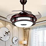 Qinmo Luces de ventilador de techo, ventilador de la lámpara, de 42 pulgadas control remoto de la lámpara, la lámpara invisible Ventilador, Lámpara eléctrica del ventilador, iluminación del hogar, dor