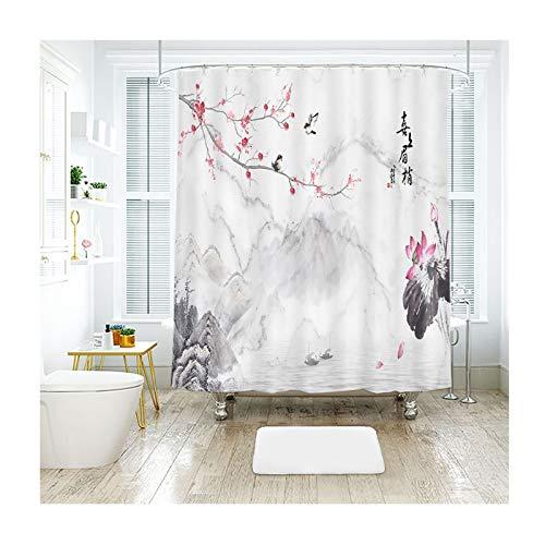 Lafeil Badvorhang Antischimmel Bunt Magpie Pflaumen Blüten 120x180cm Gewebe Duschvorhänge Badewannenvorhang Anti-Schimmel