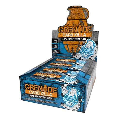 Grenade Carb Killa Barretta Proteica a Basso Contenuto di Carboidrati, Cookies and Cream, 12 x 60 g