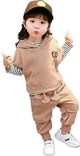 Little Girls Pullover Sweatshirt Hoodie Coat + Striped Shirt + Pants