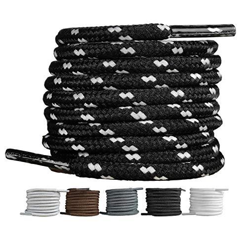 LaceHype 2 Paar - Premium Runde Schnürsenkel [ Ø4 mm ] für Arbeitsschuhe, Stiefel, Outdoorschuhe und Sportschuhe reißfeste Schuhbänder Ersatz Shoelaces aus Polyester (Schwarz/Weiß, 180)