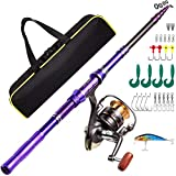 Castaroud Telescopic Fishing Rod Kit, Carbon Fiber Fishing Pole and Reel Combos with Spinning Reel, Fishing Gears and Travel Bag for Saltwater Freshwater Adults
