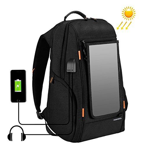 HAWEEL - Mochila para ordenador portátil, multifunción, con panel solar, transpirable, con puerto de carga USB y puerto para auriculares, estilo informal, Black with Solar Panel