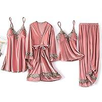 女性のセクシーなゴールドのベルベットのパジャマ、女性のスリングレースのネグリジェ、胸パッド付きのツーピースセット、4ピースのホームサービス