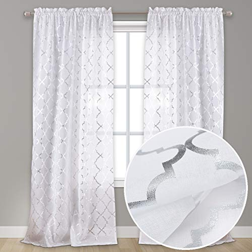 Kotile Kitchen Curtains 45 Inch Length - White Sheer Curtains for Kitchen Window Silver Foil Moroccan Print Café Curtains 2 Panels White Curtains 45 Inches Long, Silver Quatrefoil Sheer Curtains
