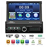 Liehuzhekeji Single Din Auto Stereo-Empfänger, 7 Zoll Klapp-Touchscreen Auto Radio Head Unit, Unterstützung Eingebaute DVR Eingang Bluetooth IOS &Android Spiegel Link FM Radio