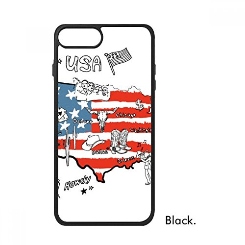 Bestchong Amerika Map Liberty Word Illustratie Voor iPhone SE 2 nieuw voor Apple 78 Case Cover