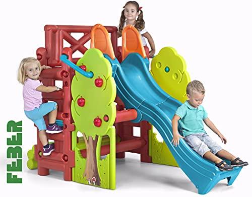 FEBER Maison des bois - Centre d'activités avec toboggan pour enfants de 2 à 7 ans (Famosa 800009590)