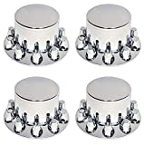 Set of 4 Chrome Rear Axle Wheel Cover 33mm Screw-on Lug Nuts for Semi Truck (4 x TR076)