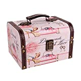 WaaHome Decorative Pink Jewelry Keepsakes Boxes Wooden Treasure Box for Kids Girls Women G...