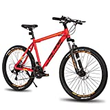 Hiland 26 Inch Mountain Bike Aluminum Shimano 21 Speeds 17 inch Frame for Man Woman Red -  HH HILAND
