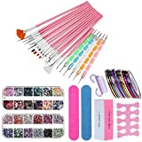 Nail Art Set Nail Pen Design set Tools, 15 Drawing Flower Pen, 1Box Nail Sequins, 1Box 3D Rhinestones, 5 Point Pencil, 30 Stripping Tapes, 4 Sandpaper Nail File, 1 Nail Brush and 1 Nail Separator