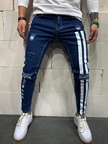 Jeans Vaqueros Pantalon Pantalones Vaqueros Ajustados ARayas Laterales para Hombre, Pantalones De Tubo De Motociclista A La Moda, Pantalones Vaqueros para Correr con Agujeros, Disfraz De